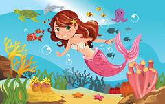 Mermaid in ocean (Giy dn tng, Thm tri sn, Sn nh) Tags: ocean sea woman fish cute nature water girl beautiful beauty animals female illustration fairytale swimming happy marine underwater drawing dolphin character cartoon smiles happiness fantasy octopus mermaid creature seaturtle vector myth fins coralreef
