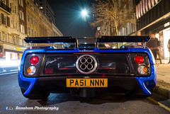 That Rear (Banaham Photography) Tags: life camera uk longexposure england money london classic boys car night canon toys photography insane nikon photographer image sony awesome tripod rich wing like fast automotive daily knightsbridge follow exotic wealthy dope dslr sick rapid supercar zonda mega facebook chaser stance lightroom spolier viral pagani bhp exh hypercar d7100 instagram
