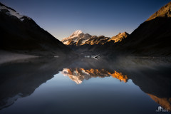 Mount Cook (Photography by Sue) Tags: new autumn moon snow ice reflections evening track cook mount zealand valley hooker