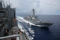USNS Charles Drew conducts a replenishment-at-sea. (Official U.S. Navy Imagery) Tags: drew ise ras anzac replenishment stockdale mscfe us7thfleetareaofresponsibility usnscharlesdrew ctf73 militarysealiftcommandfareast