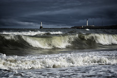Dramatic North Sea (haqiqimeraat) Tags: sea lighthouse seascape clouds skyscape landscape nikon waves stormy 2485 aberbeen