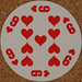 Round Playing Card 9 of Hearts