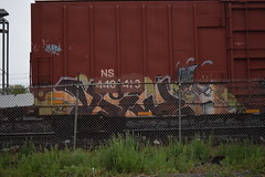 ? (TheGraffitiHunters) Tags: street blue orange white black green art car train fence graffiti colorful paint box tracks brush spray boxcar freight benched benching