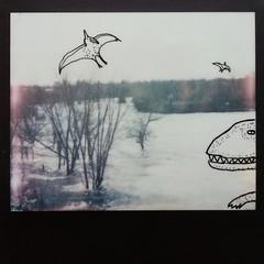 Polaroid Week Day Three (buttercup caren) Tags: polaroid haiku doodle dinosaurs expiredfilm polaroidweek roidweek impossibleproject inkedpolaroid