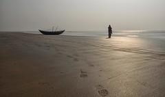 Boat & my Better Half (Nitya..) Tags: india tourism beach yearend sand nikon holidays december newyear tourist attraction westbengal bayofbengal in digha 2015 travelphotography colorefexpro mandarmani weekenddestination tajpur googlenik