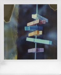 The leader of the pack (ale2000) Tags: colour polaroid sx70 line plastic domestic hanging colored expired hangers clothespins hanged impossible timezero mollette polaroidweek roidweek expired1204 roidweek2016 roidweek2016springedition