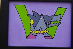 W is for Werewolf (Empress of Blandings) Tags: green werewolf illustration painting grey design acrylic purple pastel w letters gray pearls doodle letter doodles acrylicpaint letterw palegreen palepurple canvasboard wolfhead wolfwoman wletter wolflady werebeing