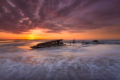 SS Werner Kunstmann (Calum Gladstone) Tags: sunset sea sky seascape ship northumberland sands wreck goswick leefilters canon6d