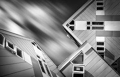 Lost in translation (80D-Ray) Tags: longexposure windows blackandwhite house abstract monochrome architecture clouds movement rotterdam blaak cubes nd110