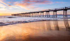 Hermosa Beach Pier (explored) (meeyak) Tags: ocean california longexposure travel blue light sunset vacation sky orange sun reflection art beach nature water architecture clouds outdoors photography la pier losangeles spring nikon warm waves cloudy smooth malibu socal southerncalifornia hermosa hermosabeach textured d800 ndfilter 1635mm meeyak instagram