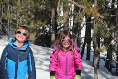 Olsen and Jovie in the narrow trees 3 (Aggiewelshes) Tags: travel winter snow april snowshoeing wyoming olsen jacksonhole colterbay jovie grandtetonnationalpark 2016 gtnp