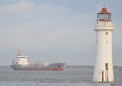 Perch Rock Lighthouse (Albie n Glo) Tags: sea lighthouse ship wirral newbrighton cargoship merseyestuary perchrocklighthouse