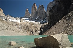 Torres del Paine (wander luce) Tags: chile blue sky patagonia lake mountains trek scenery outdoor glacier