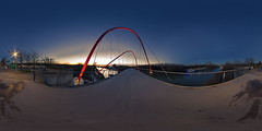Nordsternpark nach Sonnenuntergang - 360°-Pano (uwe1904) Tags: stadtlandschaft ruhrpott nordsternpark rheinhernekanal brücke doppelbogenbrücke spivpano equirectangular circularpatternrectified