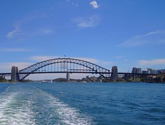 Sydney. Harbour Bridge from the Manly ferry. (denisbin) Tags: sydney manly beach swimmers operahouse centralstation railway railwaystation sydneycentralstation sydneyharbourbridge thecoathanger bridge harbour
