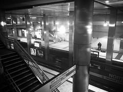 Metropolis (anokarina) Tags: bw station boston train subway ma blackwhite waterfront massachusetts thet orangeline bostonist appleiphone6