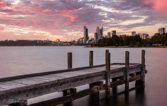 Perth In Pink (JChipchase) Tags: city sunset river landscape jetty australia southperth
