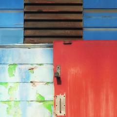 geometric grunge (msdonnalee) Tags: door hinge vent geometry grunge peelingpaint urbangeometry woodsiding