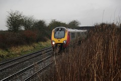 Virgin Trains 1A20 Holyhead to London Euston with Super Voyager Class 221 approaching Beeston Foot Crossing in heavy Rain on 6th February 2016  (steamdriver12) Tags: london rain electric foot crossing cheshire diesel trains super class virgin multiple voyager february 221 heavy euston beeston 6th approaching unit holyhead 2016 dmu 1a20