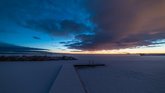Hot and cold sky (jarnasen) Tags: morning winter snow cold colour ice clouds sunrise landscape dawn frozen nikon mood sweden outdoor jetty horizon tripod nordic sverige february scandinavia risingsun linkping subzero landskap stergtland ultrawideangle d810 sttuna nordiclandscape samyang14mmf28 jarnasen