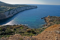 Fomm ir-rih, Malta (The_mediterranean_traveler) Tags: home nature bay countryside mediterranean bluesky malta cliffs wanderlust naturephotography rawimages fommirrih malteseislands nikond3000 maltesecountryside northofmalta