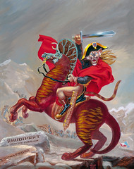Rhudiprrt, Prince of Fur by Frank Kelly Freas, 1996 (Tom Simpson) Tags: horse art illustration cat vintage 1996 fantasy scifi sciencefiction horseback frankkellyfreas rhudiprrt princeoffur painting1990s