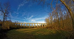 The bridge at sunset - Le pont au soleil couchant (Sbastien Vermande) Tags: bridge trees winter france hiver meadow lot fisheye arbres pont prairie 1001nights midipyrnes canon7d samyang8mm 1001nightsmagiccity