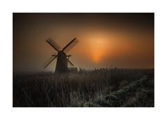 Turn Around (Lindi m) Tags: misty fog sunrise reeds landscape suffolk frost windpump herringfleet smockmill