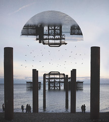 Brighton Geometry (Hector Pitt) Tags: travel sunset panorama sun art beach shop set photoshop canon circle landscape photography golden design photo brighton post graphic artistic designer geometry manipulation hector adventure adobe hour processing pitt shape manipulate