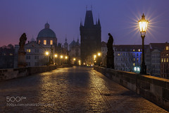 Morning on the Bridge (Pity411) Tags: old city travel bridge light sky urban building church monument beautiful beauty architecture night europe cityscape republic czech prague gothic towers charles praha historic unesco lamps 500px ifttt