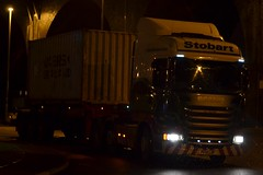 Stobart H6938 PF14 LBP Lara Danielle at Widnes 5/2/16 (CraigPatrick24) Tags: road truck cab transport container lorry delivery vehicle trailer scania logistics widnes stobart eddiestobart skeletaltrailer laradanielle stobartgroup scaniar450 pf14lbp h6938