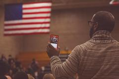 Livestreaming #BlackForumMN (Tony Webster) Tags: minnesota us unitedstates flag forum rally minneapolis americanflag event usflag noc iphone 2016 livestream patrickhenryhighschool blackamerica politicalevent livestreaming northminneapolis blackforum blackforummn blackamericaforum neighborhoodsorganizingforchange