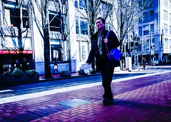 The Tourist (TMimages PDX) Tags: road street city travel people urban buildings portland geotagged photography photo image streetphotography streetscene tourist sidewalk photograph pedestrians pacificnorthwest avenue fineartphotography iphoneography
