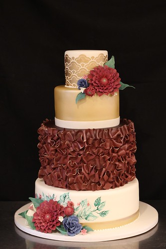 Metallic Gold and Burgundy with Fondant Texture and Sugar Dahlias