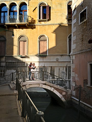 A most lovely corner in Venice, well most corner are just beautiful! (VillaRhapsody) Tags: travel bridge venice houses people italy building water outside outdoors canal travels father daughter venezia venedig