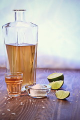 Ready - Set - Go (Caroline.32) Tags: stilllife glass wooden salt tequila limes tabletop decanter woodtable