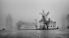 Main square in Krakow (Tommy Høyland) Tags: road street old city morning travel people urban bw white house mist black tower tourism church monochrome fog architecture facade buildings walking square lights early town photo europe european market outdoor pov smoke low poland krakow polish visit cobbled structure historic line cobblestone lane contruction distance residential bnw rynek
