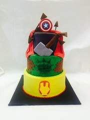 Three Tier Marvel Cake (tasteoflovebakery) Tags: ironman superhero hulk thor captainamerica fondant 3tier fullyfondant