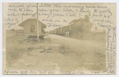 Depot, Kyle, Texas (SMU Central University Libraries) Tags: texas locomotives railroads railroadcars railroadstations depots rppc