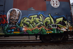SERK (TheGraffitiHunters) Tags: street blue red mars green art car yellow train graffiti big colorful paint gun space alien tracks ufo spray full covered boxcar piece freight attacks serk tdr benched benching 712849 bnsf712849