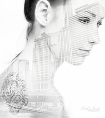 Jess (Shelli Booth Photography) Tags: portrait blackandwhite girl blackwhite high model nikon key exposure cityscape doubleexposure double highkey tatoo studiolights paulbuff shelliboothphotography