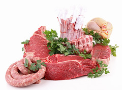assorted of fresh raw meats (memory123451234) Tags: food france chicken cuisine raw market beef sausage fresh meat roast whitebackground butcher steak chop lamb parsley edible assortment isolated meats assorted butchery beefsteak fillet