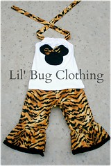 Tiger Minnie Mouse Capri Halter Top (Lil' Bug Clothing) Tags: animal mouse capri outfit top tiger kingdom minnie halter
