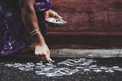 Rangoli- The art of drawing with chalk powder   Royal Mysore Walks (Royal Mysore Walks) Tags: travel india art colors folkart culture explore mysore rangoli artform rangooli