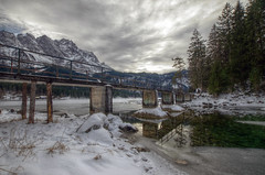Landscape (pentars) Tags: bridge trees winter sky lake snow mountains reflection nature water beautiful clouds landscape scenery view pentax sigma 35 1020 hdr eibsee zugspitze k5ii