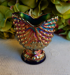 Northwood Carnival Glass Toothpick Holder Nautilus Argonaut Shell Blue (Donna's Collectables) Tags: carnival blue glass shell toothpick northwood holder nautilus argonaut