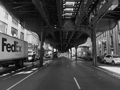 "Chicago, Under the ""El"" along Wabash Street (Mary Warren (6.7+ Million Views)) Tags: urban blackandwhite chicago monochrome tracks el transportation elevated"