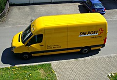 Any package for me? (Deejay Bafaroy) Tags: yellow outdoors post aerialview gelb postauto postofficevan draussen mailvan vogelperspektive postvan postmansvan