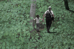 Discover the Earth (Doris Burfind) Tags: trees people woods child earth grandfather hike