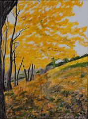 Herbstwald (kunstgrafik) Tags: kunst jahreszeit gelb landschaft weiss samt herbstwald lgemlde fantastisch wundervoll luethi abdelghafar